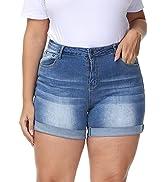Uoohal Plus Size Shorts Casual Summer Folded Hem High Waisted Denim Shorts