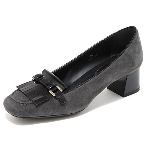 Decollete Nero Vintage MORSETTO Women Donna Grigio Frangia 69805 Scarpa Gomma Shoes OY Tod's fq5YPw