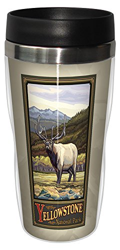 Tree-Free Greetings sg23221 Vintage Yellowstone National Park Elk by Paul A. Lanquist Stainless Steel Sip 'N Go Travel Tumbler, 16-Ounce, Multicolored