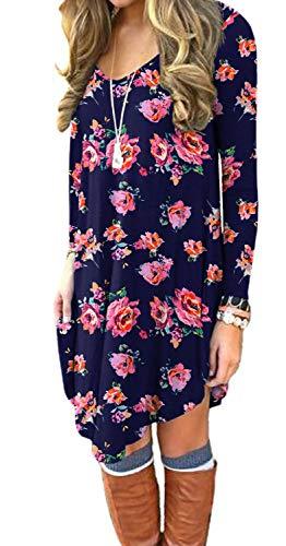 DEARCASE Women's Long Sleeve Casual Loose T_Shirt Dress Pink Floral Navy Blue Medium