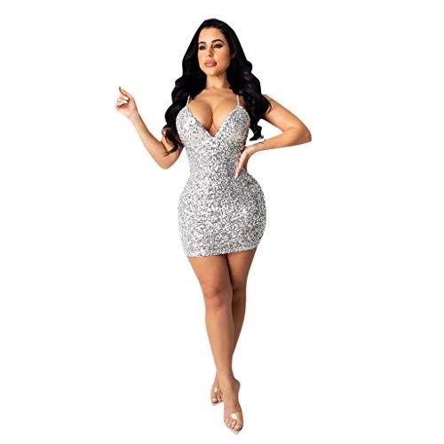 Spring Color  ‿◕Fashion New Women Sexy deep v Neck Bling Sleeveless Club Bodycon wrap Slim Dress Mini Tank Dresses Silver