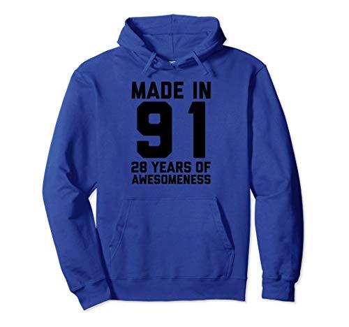 28th Birthday Hoodie Women Men Gift Age 28 Year Old 1991