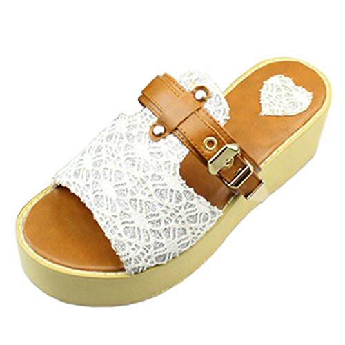 Femmes Coolcept Confort White Sandales Wedges Mules a8x4F0nxw