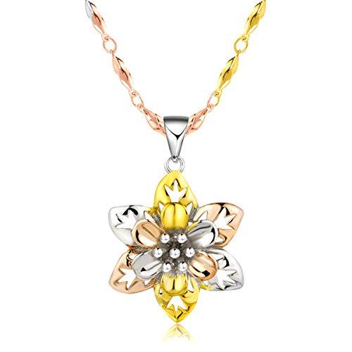 Libaraba 925 Silver Filigree Tri-Color Jasmine Flower Pendant Necklace with Jewelry Box,Jasmine Necklace for Women (Multicolor)