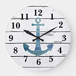 Moonluna Nautical Blue Anchor Shiplap Rustic Decor Wooden Wall Clock for Living Room Bedroom Kitchen Home Office Decoration 14 Inches