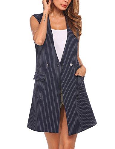 - Zeagoo Women's Oversized Open Blazer Striped Suit Vest Longline Sleeveless Waistcoat Jacket Coat,Navy Blue,Large