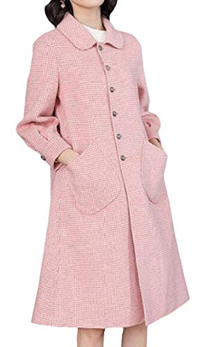Etecredpow Women's Wool-Blend Houndstooth Pea Coat Overcoat Single Breasted Trench Coat Pink Medium