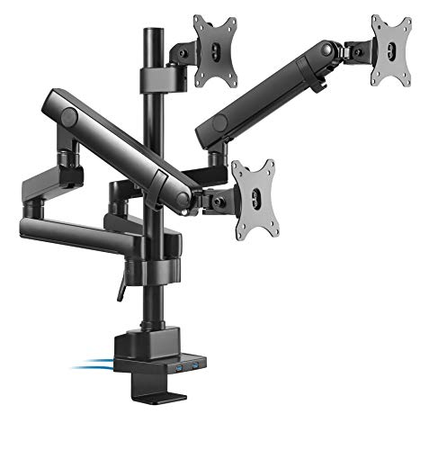 TechOrbits Three Monitor Stand Mount - Triple Computer Screen Desk Mount Arms - Full Motion Swivel Articulating Mechanical Arms with Two USB Ports- Universal Fit for 17