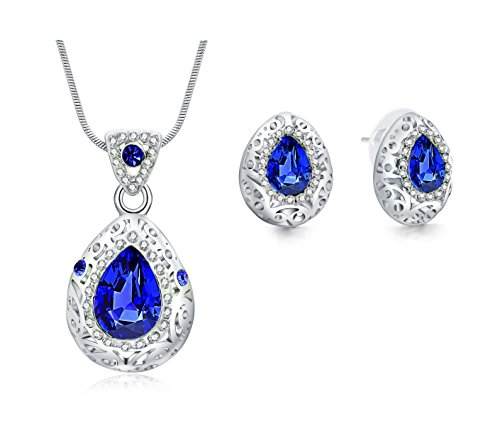 Jewelry Set – Blue Teardrop Necklace Pendant Earrings for Women Teen Little Girls - Prime Gift 18K Gold Plated (Bridal Sets White Gold Blue)