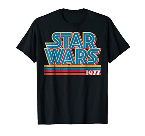 - Star Wars Super Retro Striped Logo 1977 Graphic T-Shirt