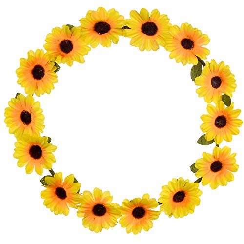 Lux Accessories Sunflower Floral Flower Yellow Head Hair Crown -