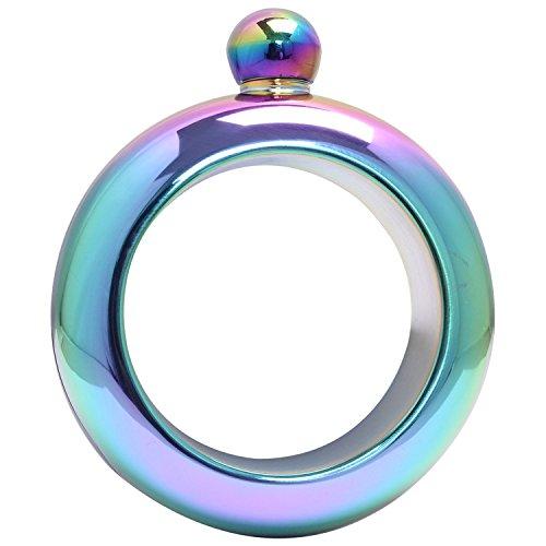 Amzwt Wisky Bangle Bracelet Flask Stainless Steel Sneak Alcohol Fake Flasket(3.5oz Rainbowl Color) (Fake Flask Alcohol)
