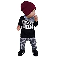 "Baby Boys ""Heart Breaker"" Long-Sleeved T-Shirt+ Geometric Print Pants Clothes Set"