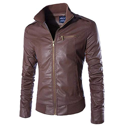 Dream_mimi Men's Casual Solid Color Collar Leather Jacket Autumn Windproof Coat(Coffee,M)