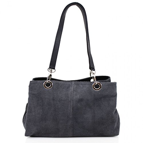 Ladies D 3 Zip Shoulder LeahWard grey Women's With Women Three Size Suede Leather Bag Compartment Pockets Zip For Real Bag Small Uw6xUTZS
