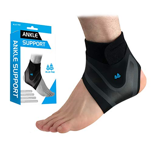 (BLUE PINE Ankle Support Adjustable Lightweight Ankle Brace Breathable Material Ankle Sleeve for Men and Women, Single Unit (Left, Large))