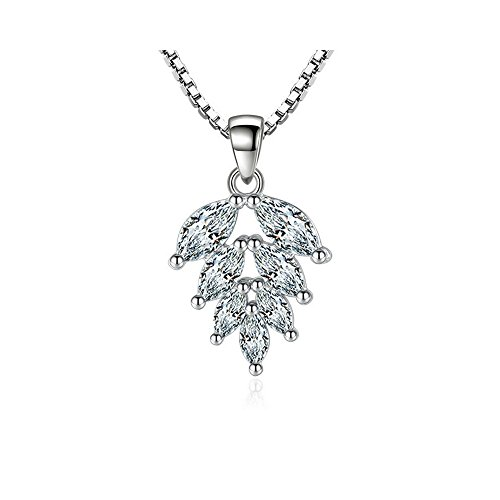 925 Sterling Silver Plated White Zirconia Leaf Necklace | Fine Jewelry for Women | Girls - by Perfect Eden