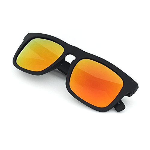 Black Smoke Flash Mirror Lens - J+S Raglan Surfer's Choice Flash Mirror Lens Wayfarer Standard Fit Square Matte Finish Polarized 400UV Sunglasses for Men (Orange Mirror Lens)