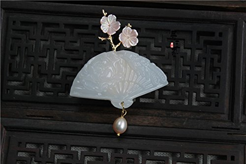 18k Brooch Cameo (Tsui custom home quality handmade natural white women girls fan crossing 18k gold brooch pin Chinese wind personalized pin with jewelry)