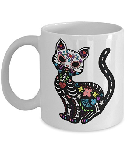 Dia De Los Gatos Cat Halloween - Funny Happy Halloween Day Coffee Mug Gift Coffee Cup Mugs - Halloween Great Gifts Idea for Men, Women, Kids, Mom, Dad