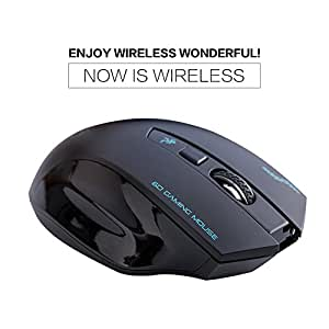 Optical Wireless Mouse 2.4G Portable Mice with 3 Adjustable DPI Levels 6 Buttons 2400 DPI 12 Months Battery Life(Black)