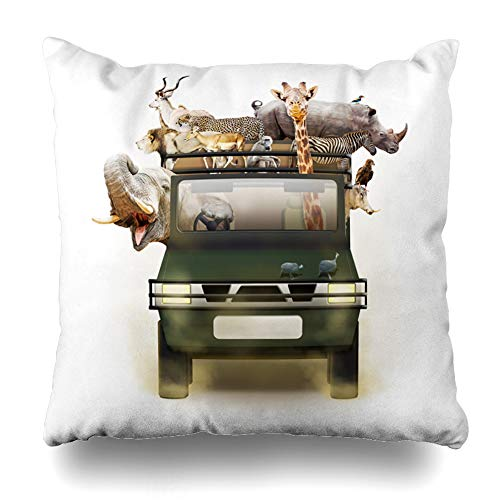 Ahawoso Throw Pillow Cover Plate Truck Wild African Safari Vehicle Room Funny Africa Adventure Baboon Dirt Drive Dust Design Home Decor Pillow Case Square Size 20x20 Inches Zippered Pillowcase