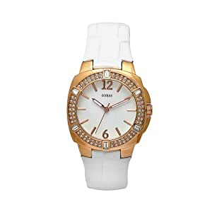 GUESS Women's W11558L1 Steel White Leather White Dial Watch