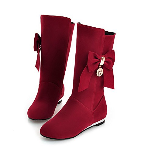 AllhqFashion Mujeres Sin cordones Puntera Redonda Mini Tacón Caña Media Botas con Lazos Rojo
