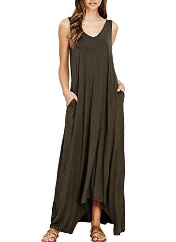 Mljsh Womens Summer Casual Plain V Neck Sleeveless Swing Loose Beach Sundress Long Maxi Dress with Pockets