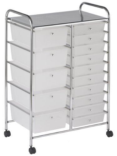 ECR4Kids 15-Drawer Mobile Organizer, White