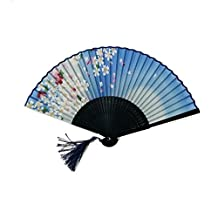 JAYYANG Chinese Style Butterfly Flowers Pattern Lace Bamboo Handheld Folding Fans for Girls Women Out Hand Folding Fans Outdoor Wedding Party Favor ZS-BULE