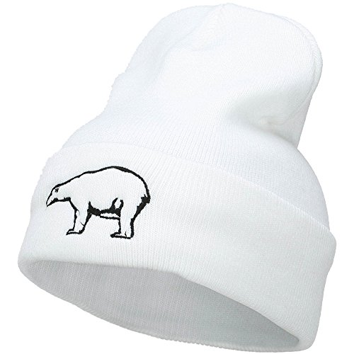 Polar Bear Outline Embroidered Long Beanie - White OSFM
