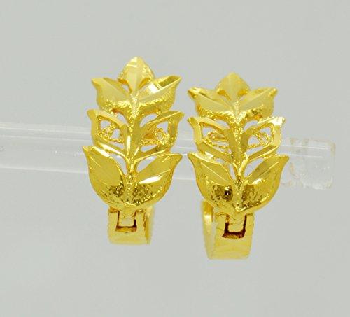 Bridal 22k Yellow Gold Plated Gp Women Hoop Earrings Lever Back Jewelry Heart Ethnic Thai 14 mm ()