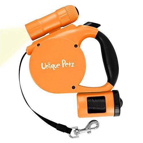 Unique Petz 3-in-1 Retractable Leash With Light (Orange)