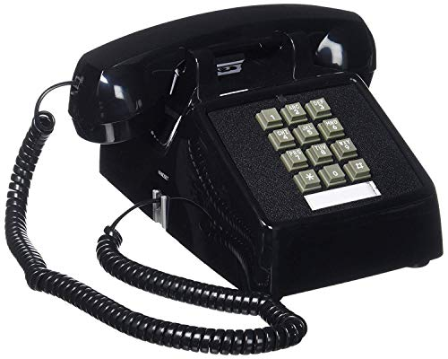Single Line 2500 Classic Analog Desk Phone with Volume Control, 2 Ports, Handset and Line Cord Included , Black - Works on PBX, 1 Year Protection