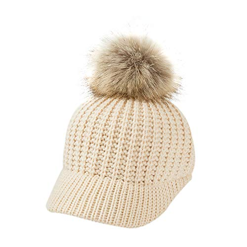 Eric Carl Knitted Baby Hat Pompom Winter Cap Adjustable Solid Baby Winter Hat Accessories Children Cap for 2-5 Years ()