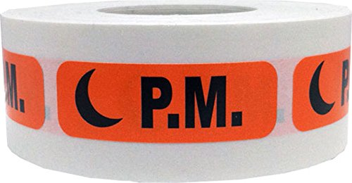 Orange with Black PM Stickers, 0.5 x 1.5 Inches in Size, 500 Labels on a Roll by InStockLabels.com