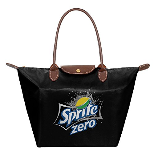 sprite-zero-logo-foldable-shopping-bags-large-tote-handbags-black
