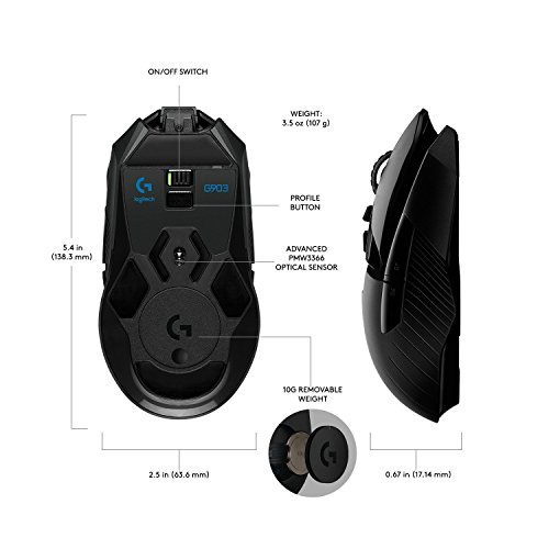 Logitech G903 LIGHTSPEED Gaming Mouse with POWERPLAY Wireless Charging Compatibility(Certified Refurbished) by Logitech (Image #3)
