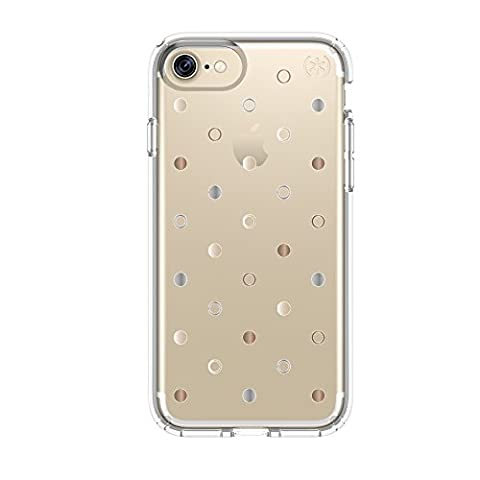 Speck Products Presidio Clear + Print Cell Phone Case for iPhone 7/6S/6 - Discodots Gold/clear (Iphone 6 Speck Clear Case)