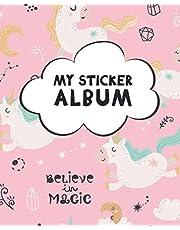 My Sticker Album: Blank Sticker Book for Collecting Stickers | Reusable Sticker Collection Album for Kids - Pink Unicorns Design
