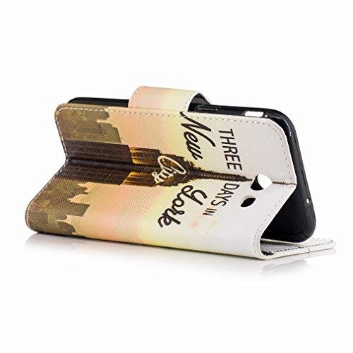 Yiizy Samsung Galaxy A3 (2017) / A320F/FL / A320Y Funda, Edificio De Nueva York Diseño Solapa Flip Billetera Carcasa Tapa Estuches Premium PU Cuero Cover Cáscara Bumper Protector Slim Piel Shell Case