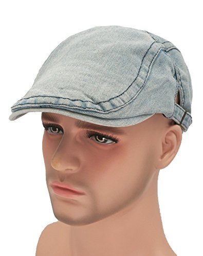 Roffatide Unisex Washed Denim Strap Jean Newsboy Cap Driving Cabby Ivy Beret Hat