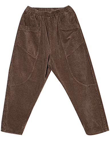 Femmes Large Jambe Waist Youlee Côtelé Pantalon Kaki Velours Élastique 3Lj4A5R