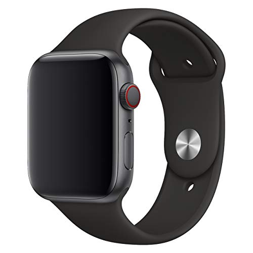 Compatible with Apple Watch Band 38mm 42mm 40mm 44mm Sport Band Soft Silicone Replacement iWatch Wrist Strap Compatible with iWatch 4 3 2 1 for Men Women-Black 42mm 44mm