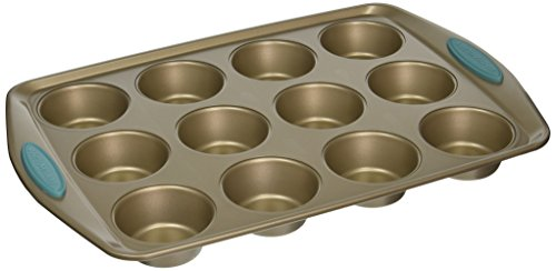 Rachael Ray 46684 Cucina Nonstick Bakeware 12-Cup Muffin Cupcake Pan Agave Blue Handle Grips, Medium, Latte Brown