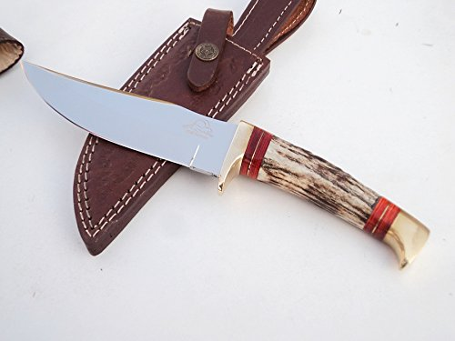 ++ DKC-717-440c BALD EAGLE 440c Stainless Steel Bowie Hunting Handmade Knife Stag Horn Fixed Blade 9.8oz 10 '' Long 5'' Blade DKC KNIVES by DKC Knives (Image #1)
