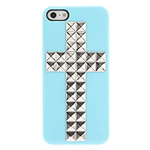 Special Design Silver Rivets Cross Pattern Hard Case with Nail Adhesive for iPhone 5/5S (Assorted Colors) --- COLOR:White