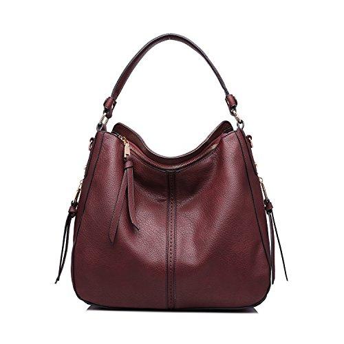 [Realer Designer Handbag Purse PU leather Durable Shoulder Bag for Women's Messenger Bag Wine Red] (Sale On Purses)