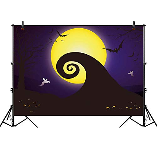 Allenjoy 8x6ft Nightmare Before Christmas Themed Backdrop for Halloween Pumpkin Jack Theme Birthday Baby Shower Photo Studio Photography Pictures Background Party Home Decor Decoration Shoot]()